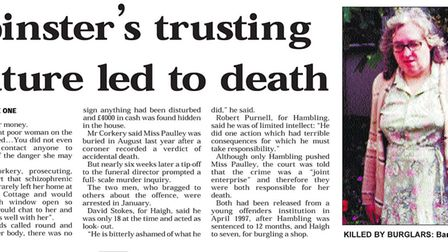 Coverage of the murder of Barbara Paulley in the EDP printed on 24 Novembery 1998. Picture: Archant