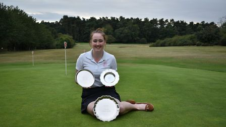 Sian Fenn-Green picked up three pieces of silverware on her home course of Swaffham Picture: CHRISSI