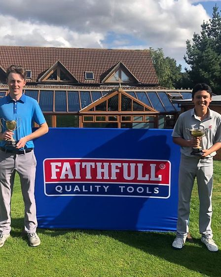 Bawburgh scratch champion Jack Cullington (left) with nett champion Charlie Green Picture: CLUB