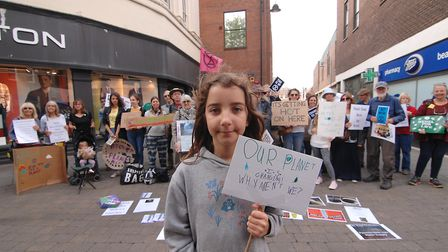 Alice Wilson, aged 10, at the Climate Strike protest in King's Lynn Picture: Chris Bishop