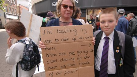 Springwood pupil Thomas Archer at today's Climate Strike in King's Lynn Picture: Chris Bishop