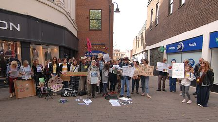 Around 50 gathered for the Climate Strike protest in King's Lynn High Street Picture: Chris Bishop