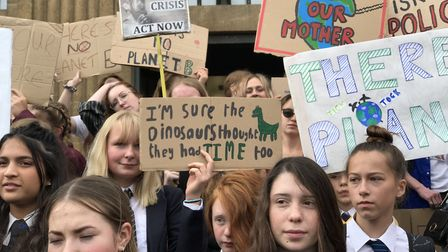 Hundreds of young people left school to join the Fridays for Future climate protest on the steps of