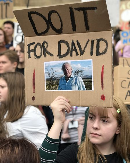 Speaking out about climate change, a young protester at the Fridays for Future protest in Norwich. P