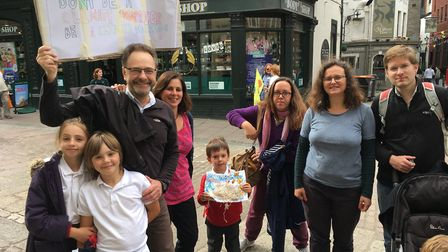 The Nobes family, Gavin, Georgia, George and Sophie, with friends at the climate protest. Picture: A