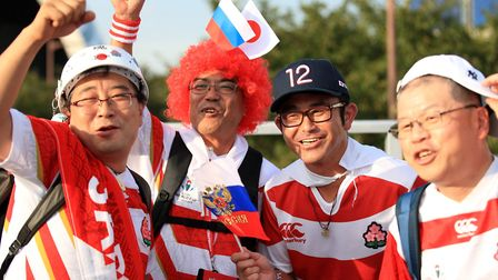 Japan fans during the 2019 Rugby World Cup Pool A match at Tokyo Stadium. PHOTO: Adam Davy/PA Wire.