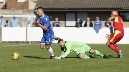 Lowestoft Town's Jake Reed scores Lowestoft's second goal against Needham Market. Picture: Shirley D