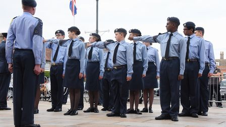 The 42F (King's Lynn) Air Training Corps cadets parade in the Tuesday Market Place, as they exercise