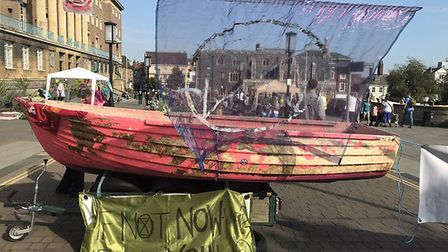 Climate protestors blocked off a Norwich street on Car Free Day. Picture: Extinction Rebellion
