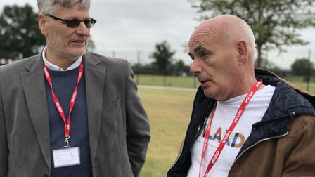 Yannick Guerin and Paul Brazier reunited at The Hewett Academy after 46 years. Picture: Victoria Per