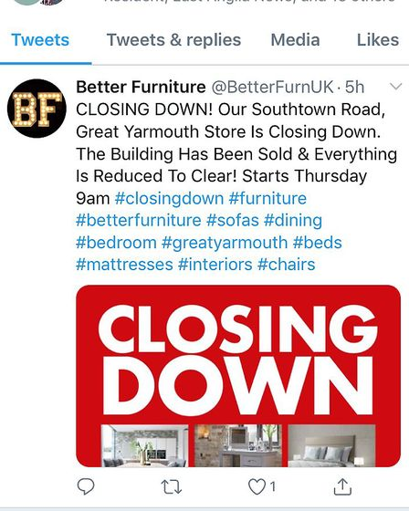The post on social media from Better Furniture. Pic: Better Furniture