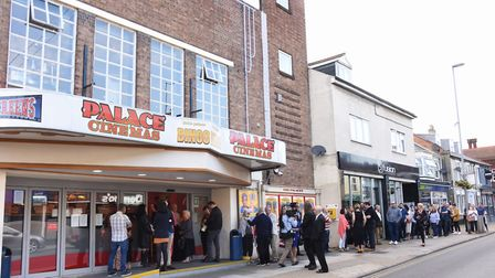 The queue at the Gorleston Palace cinema for the local premiere of Danny Boyle's film Yesterday. Pic
