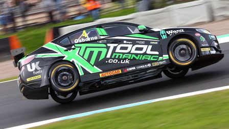 High-flying Sam Osborne trying hard with his EXCELR8 Motorsport MG6 at Knockhill Picture: Jakob Ebre