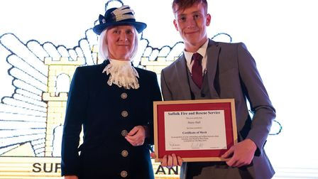 Harry Hall from Lowestoft, was presented with a special award from the Suffolk Fire and Rescue Servi