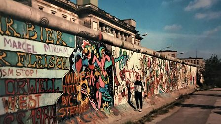 Neil Featherby at the Berlin Wall. Picture: Neil Featherby