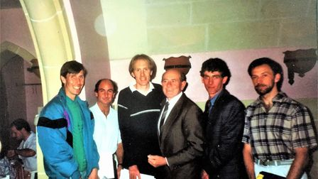 Neil Featherby with Emil Zatopek and team-mates after the Malta Marathon. Picture: Neil Featherby