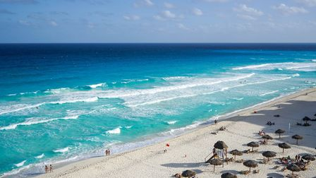 The beach at Cancun, Mexico, where Christine and Terry Hunter are on honeymoon. Picture: Andrea Powe