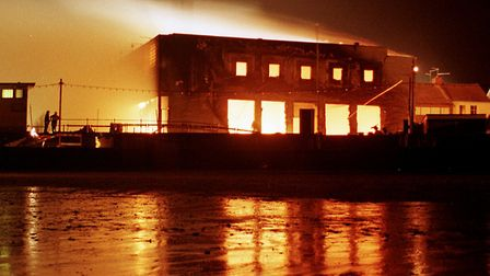 Flames engulf the Kit Kat Club in Hunstanton in 1998 Picture: John Hocknell