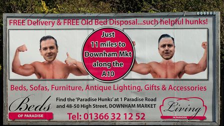 The hunks billboard beside the Hardwick Roundabout in King's Lynn Picture: Chris Bishop