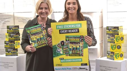 Archant take delivery of the Norwich City Football Club stickers for the sticker albums.Pictured are