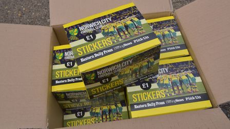 Archant take delivery of the Norwich City Football Club stickers for the sticker albums.