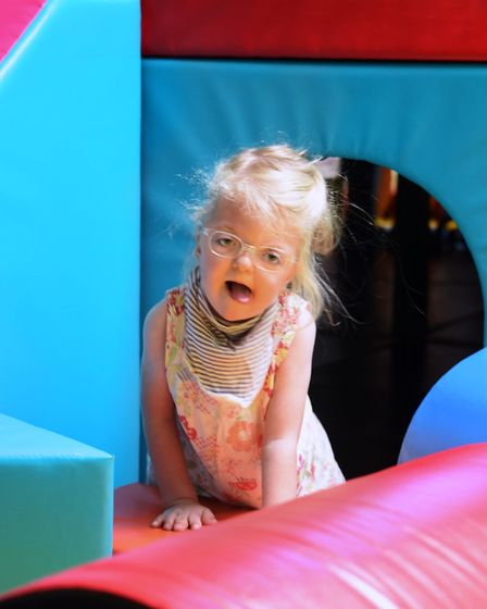 Ava Weeks, four, in the soft play room at The Nook hospice, during the open day for families who wil