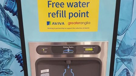 An Aviva-sponsored water fountain at Norwich railway station, the latest installed by operator Great