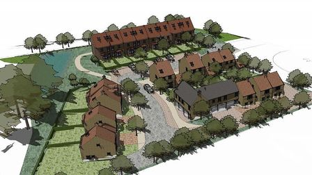 An indicative masterplan submitted on behalf of site owner Frostdrive Ltd to East Suffolk Council f