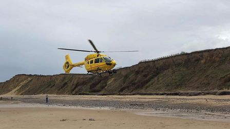 Emergency services were called to reports that a person had fallen over the cliff at West Runton. Pi