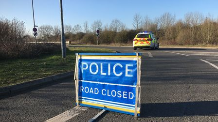 The A11 near Attleborough was closed after a lorry crashed into two stationary vehicles near Breckla
