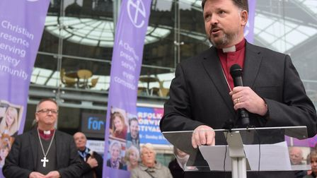 The new Bishop of Norwich Rt Rev Graham Usher speaks at the Forum. Picture: DENISE BRADLEY