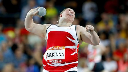Sophie McKinna in action during the shot put final at the Commonwealth Games in Australia Picture: P