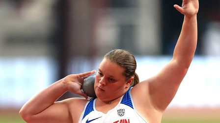 Great Britain's Sophie McKinna in action during the women's shot put in Doha Picture: PA