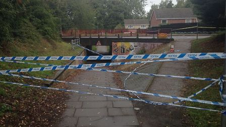 Police tape in Thetford after man was pronounced dead on Brandon Road. Picture Dominic Gilbert.