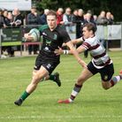 Dan Smith closes in on the try line for North Walsham against Brentwood Picture: HYWEL JONES