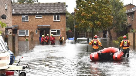 Flooding on Velda Close in Lowestoft during the torrential rain. Picture: Michael Howes
