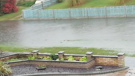 Flooding onThieves Lane and Besthorpe Road in Attleborough during the torrential rain. Picture: Jon