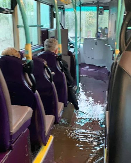 Lowestoft Bus flooded Picture: Sarah Goodenough