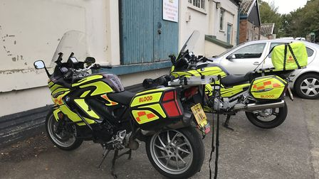 Norfolk blood bikes are helping in need mothers by delivering donated breast milk.. Picture: Ella Wi