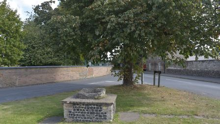 Near Oak Street in Feltwell is a stone plinth which is thought to be the base of a cross, legend has