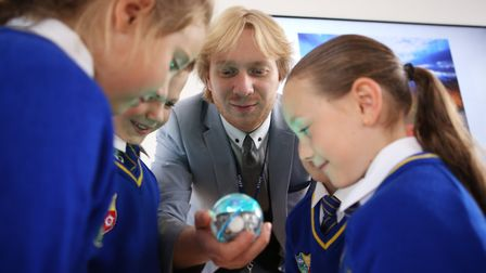 Mr McCowen introducing Year 3 pupils to Sphero - a digital coding device. Picture: 2up Creative