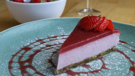 Plant-based strawberry dessert from River Green Cafe is a tasty treat Picture: Katherine Avey