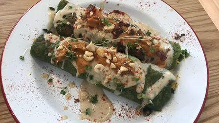 Spinach pancakes are just one of the creative lunchtime bites on offer at Hullabaloo