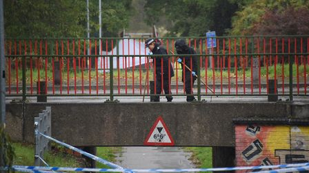 Police search the bridge over the underpass at Brandon Road in Thetford where a man is believed to