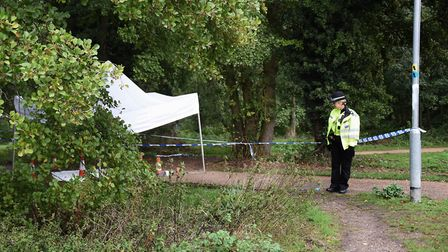 Police at the scene at the water meadow which is next to the Brandon Road at Thetford where a man is