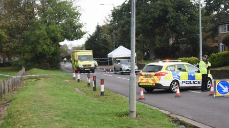 Police at the scene where a man is believed to have been stabbed at Brandon Road in Thetford. Pictur