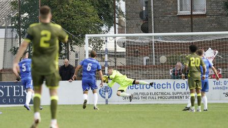 Lowestoft goalkeeper Luis Tibbles in action against Carshalton Picture: Shirley D Whitlow