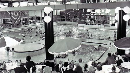 The public inspect the wave-making machine at Marina Centre in Great Yarmouth, 12th June 1981. Photo