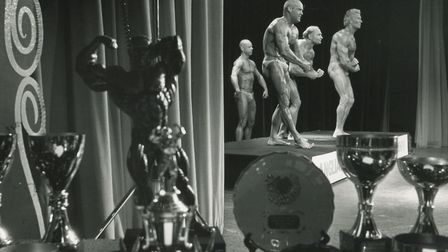 The old men of bodybuilding, the seiors compete a stones throw from the tropies in the Anglian Bodyb