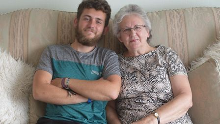 Lewis Stephens pictured with his nan Janet Stephens from Lowestoft. Picture: Greta Levy